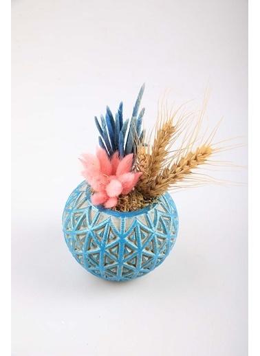 Kibrithane Çiçek Yapay Çiçek Beton Saksı Kuru Çiçek Aranjman Kc00200785 Renkli
